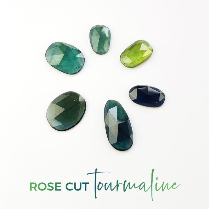 rose cut tourmalines in green and blue