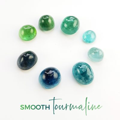 smooth tourmalines in green and blue