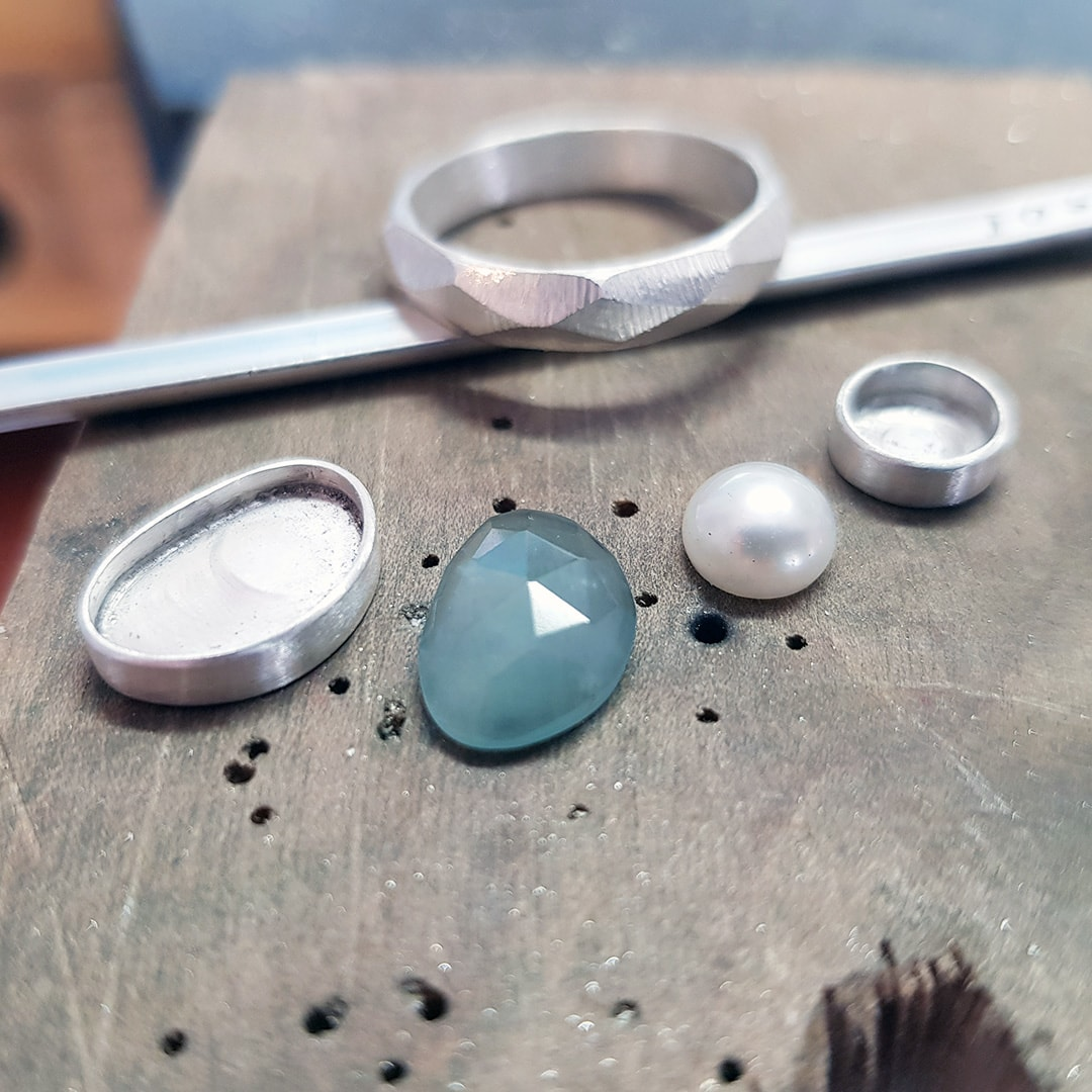 aquamarine and pearl stacking rings