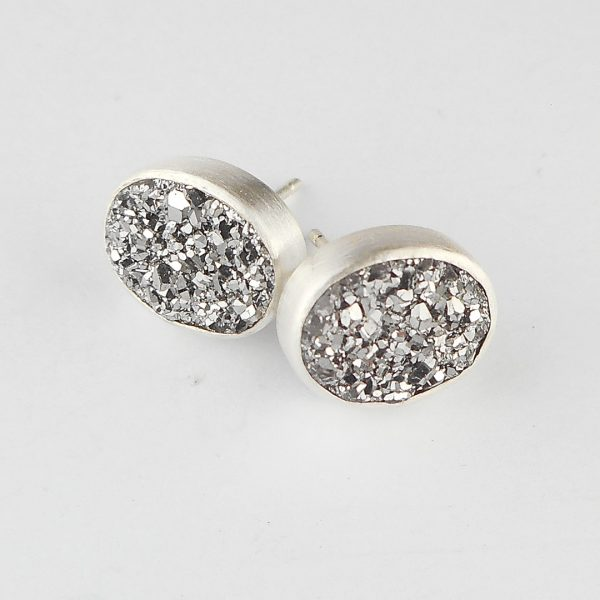Grey sparkly drusy stud earrings