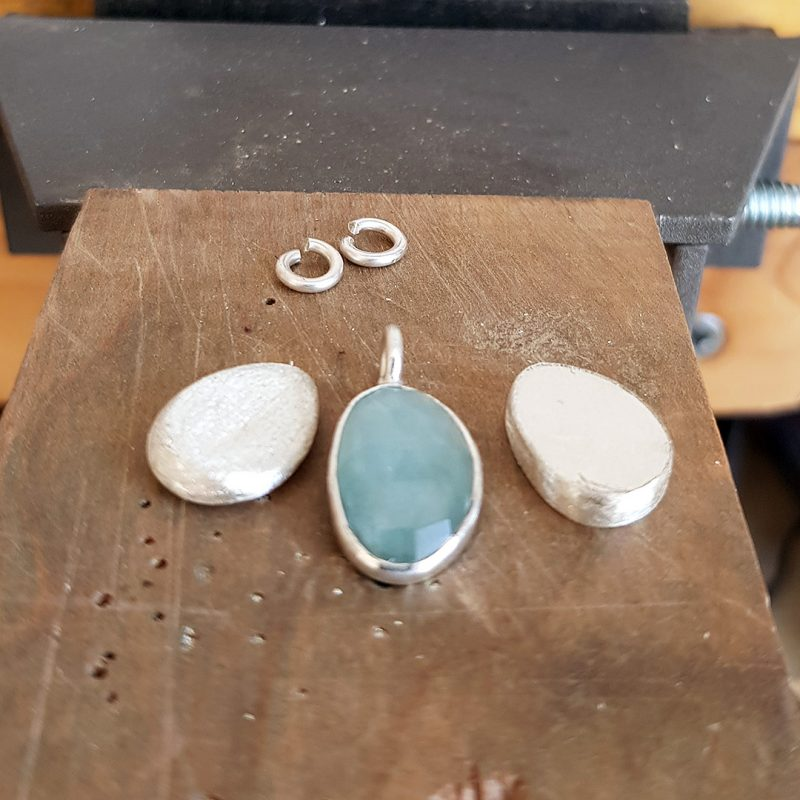 the making of aquamarine and silver pebbles commission
