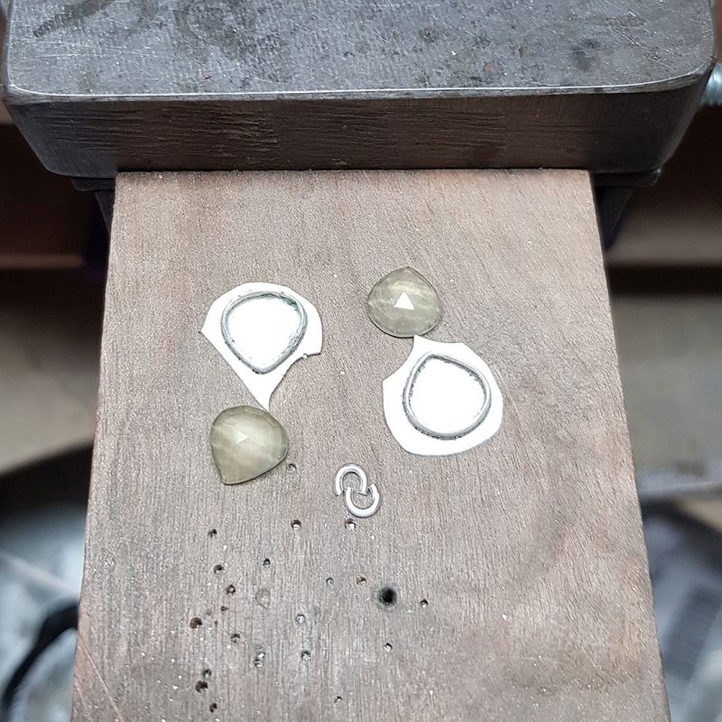 The making of a pair of prehnite and silver leaf earrings 4