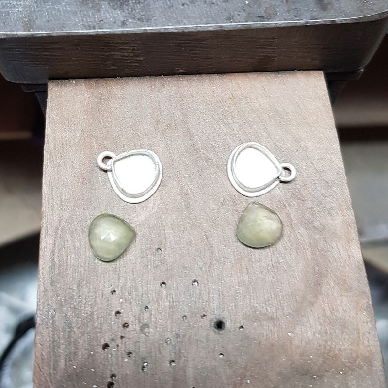 The making of a pair of prehnite and silver leaf earrings 5