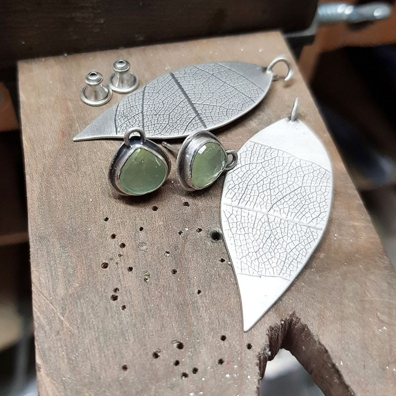 The making of a pair of prehnite and silver leaf earrings 8