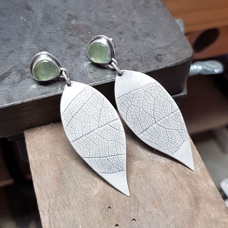 The making of a pair of prehnite and silver leaf earrings 9