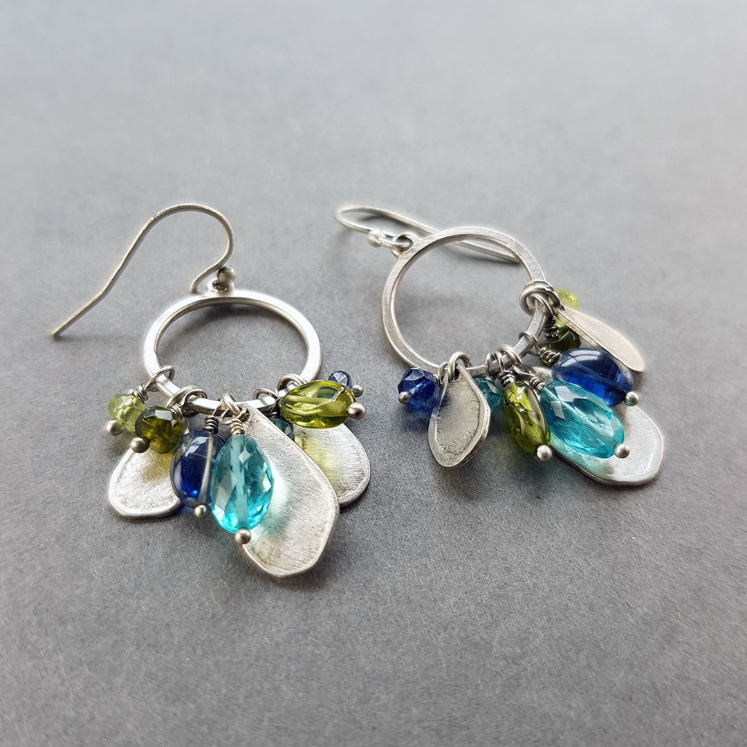 one of a kind gemstone and silver earrings; leaves and green and blue