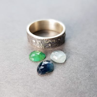 gemstone stacking rings in progress