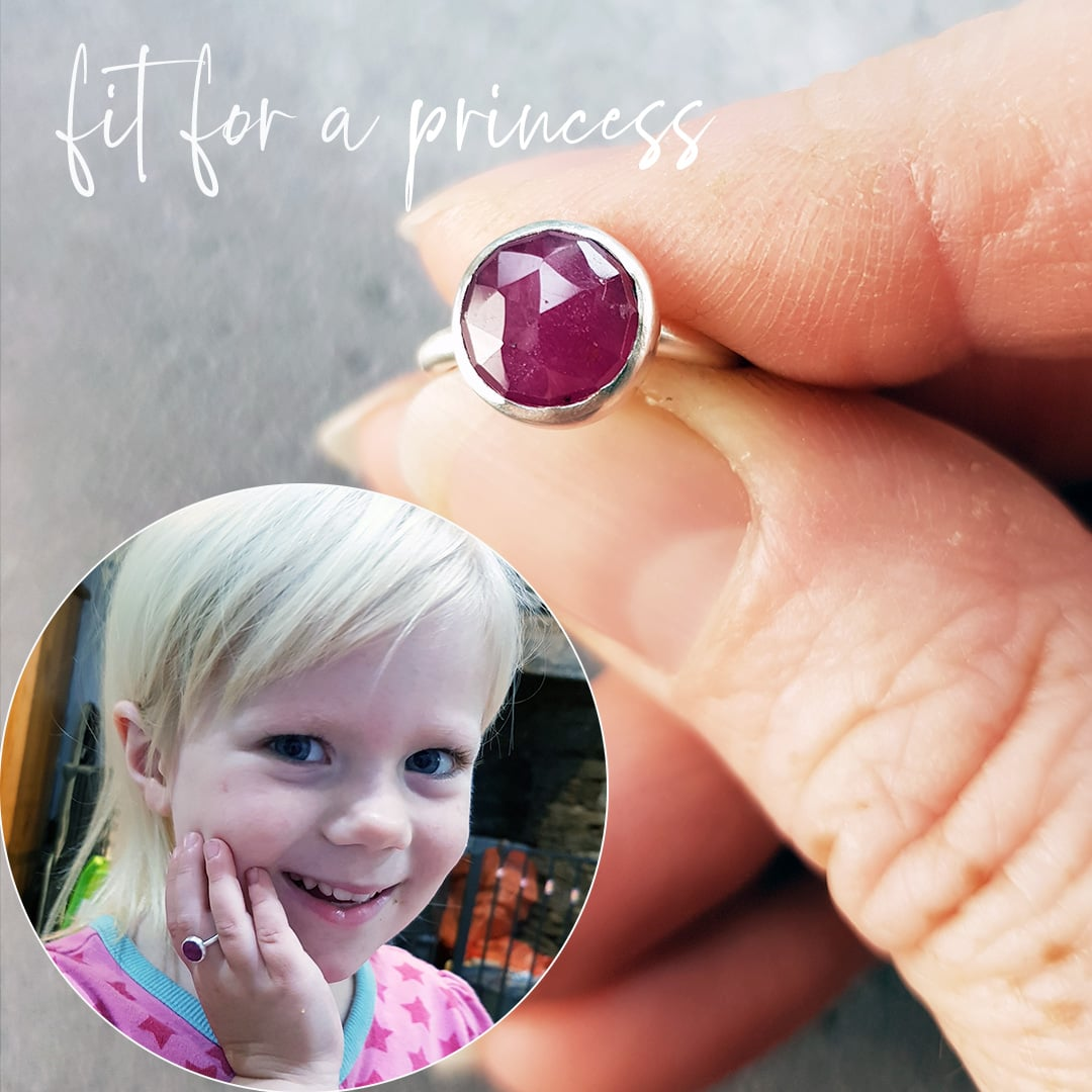 Pink ruby ring for a little girl