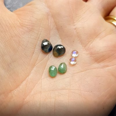 emerald, sapphire and rainbow moonstone pairs