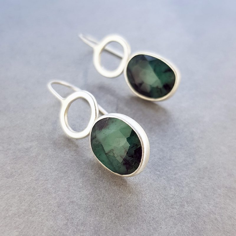 One of a kind Emerald and silver Rock Pool earrings