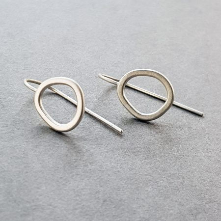 Rock Pool earrings in brushed silver with fixed hooks