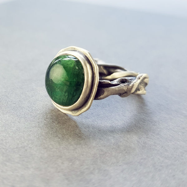 one of a kind green tourmaline and molten silver band