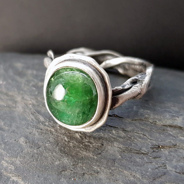 One of a kind green tourmaline and molten silver ring