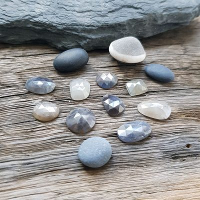 pebble coloured sapphires, beach pebbles and silver pebbles