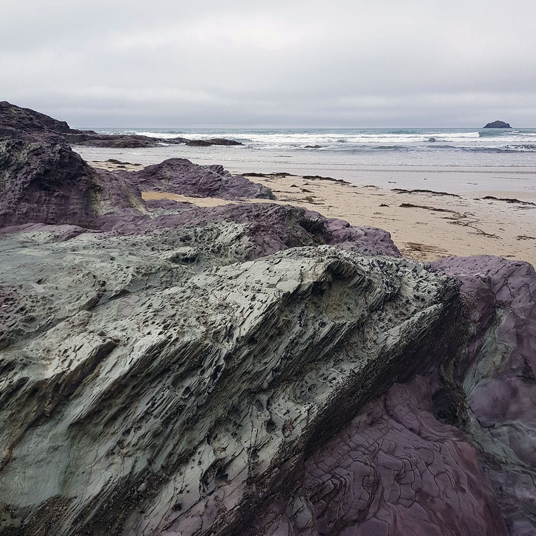 Rugged rocks at Polzeath beach