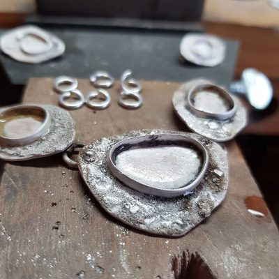 Rugged statement necklace in progress