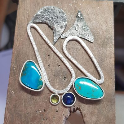 Turquoise, lapis and peridot pendants in progress