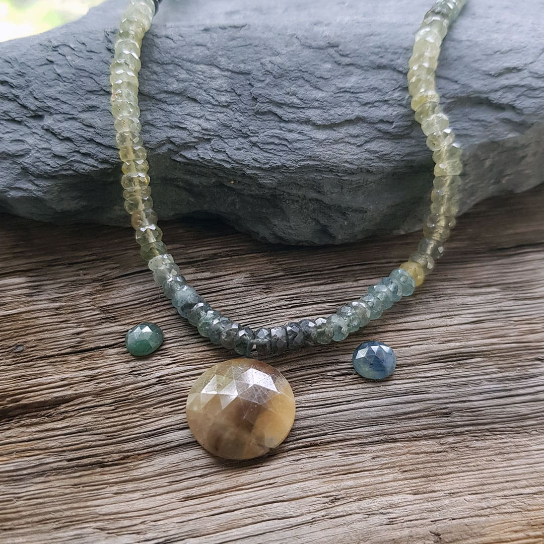 autumn necklace; sapphire and aquamarine