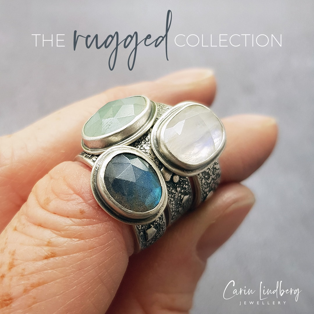 Rugged rings with labradorite, aquamarine and rainbow moonstone