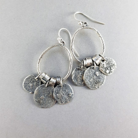 Textured silver drop earrings with handmade beads and charms