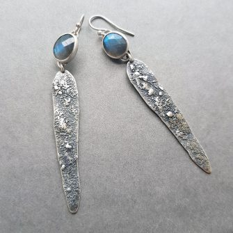 Labradorite and textured silver statement drop earrings