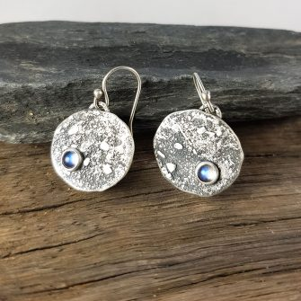 Rainbow Moonstone and textured silver drop earrings