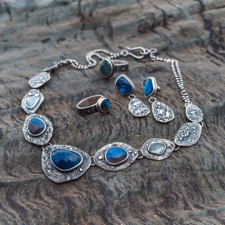 One of a kind statement necklace with Tanzanite, Labradorite, Rainbow Moonstone and textured silver
