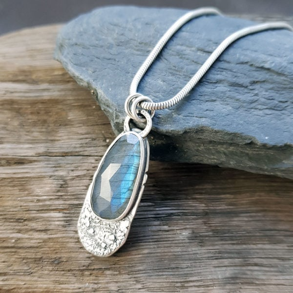 One of a kind Labradorite and textured silver pendant
