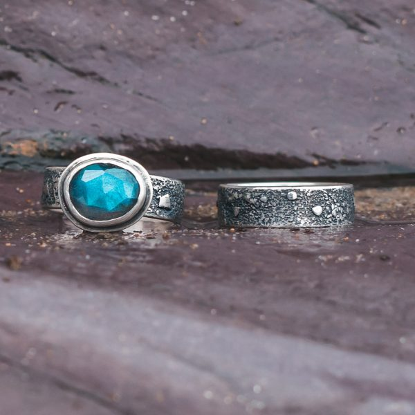 Textured silver band ring with Labradorite ring