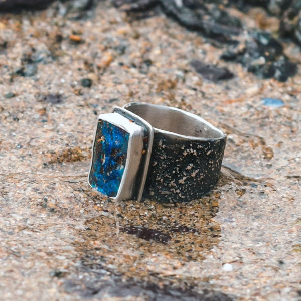 one of a kind boulder opal ring with textured band