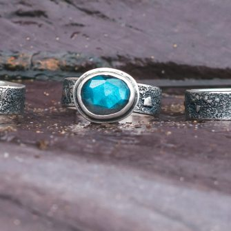 Labradorite on a textured silver band ring
