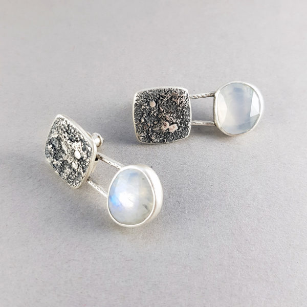 Rainbow Moonstone and textured silver drop stud earrings