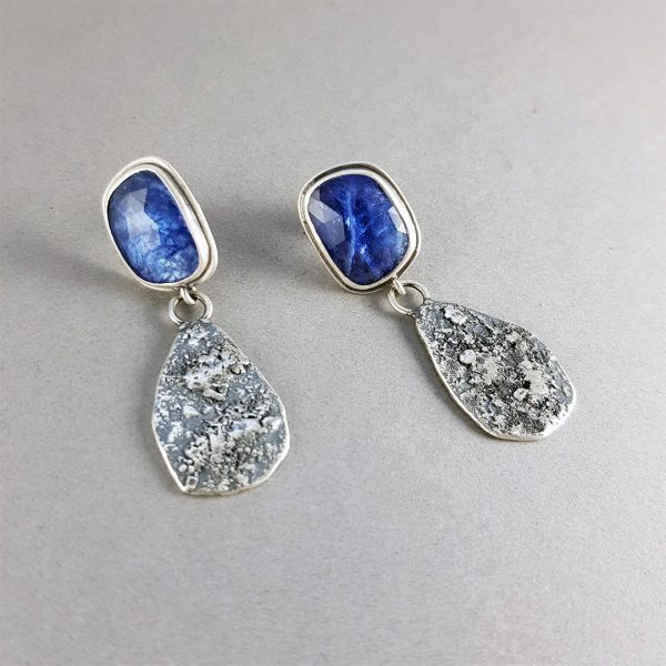 Tanzanite and textured silver drop stud earrings