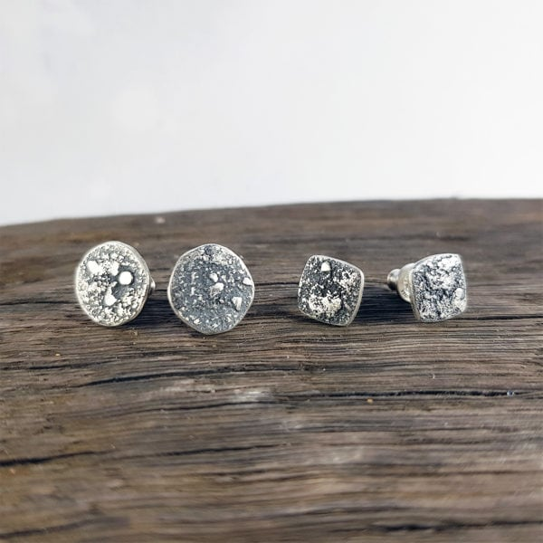 Textured rugged silver stud earrings