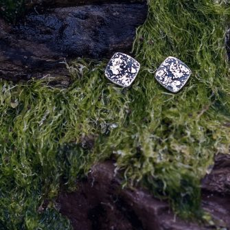Textured rugged square silver stud earrings