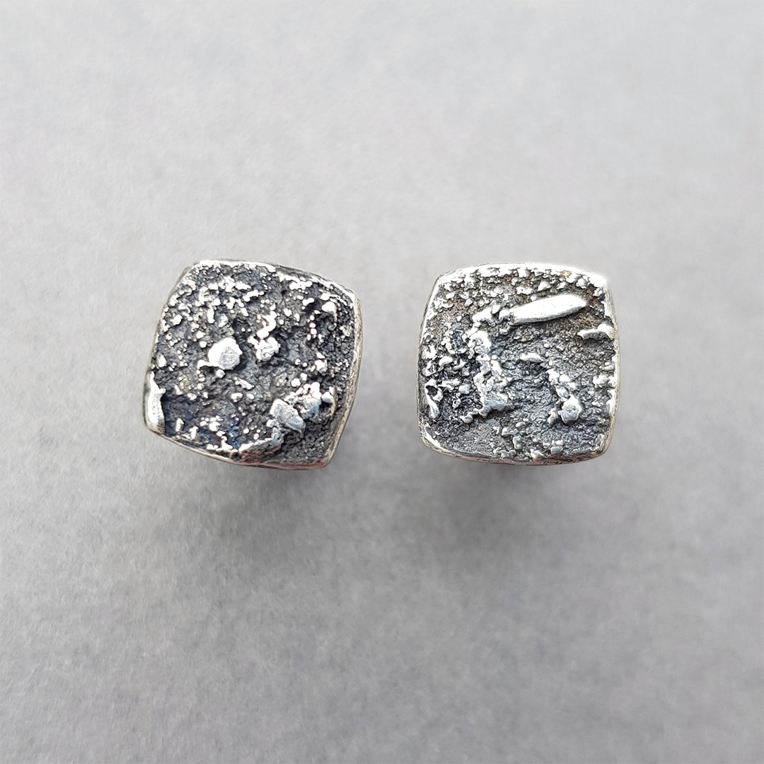 Square textured sterling silver stud earrings