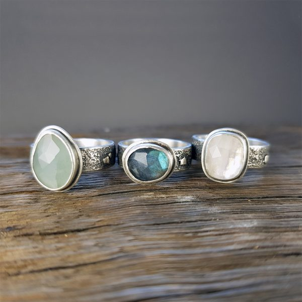 rugged rings; aquamarine, labradorite, rainbow moonstone