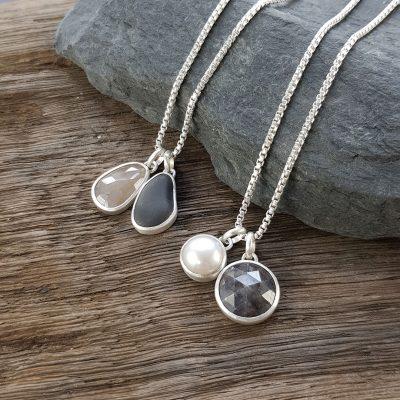 Sapphire, pebble and pearl pendants
