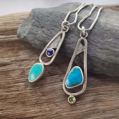 Turquoise, lapis and peridot Rugged pendants