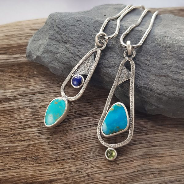 Turquoise, lapis and peridot Rugged pendants