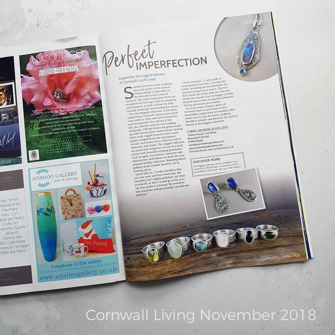 Carin Lindberg Jewellery featured in Cornwall Living Magazine November 2018