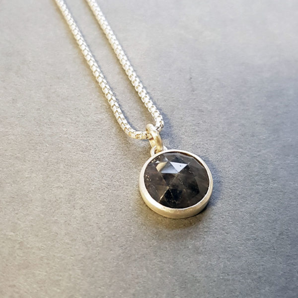 Grey sapphire and brushed silver pendant