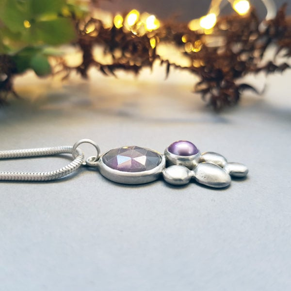 Grey and pink sapphire with mauve freshwater pearl and silver pebbles pendant