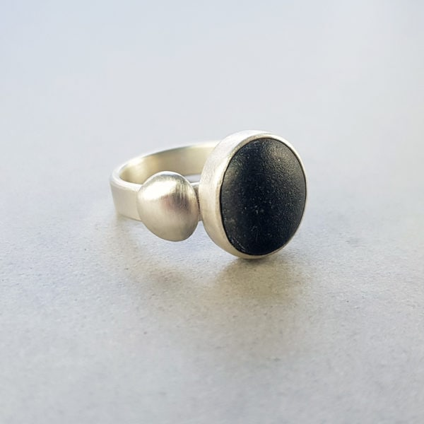 Beach pebble and silver pebble ring in brushed silver