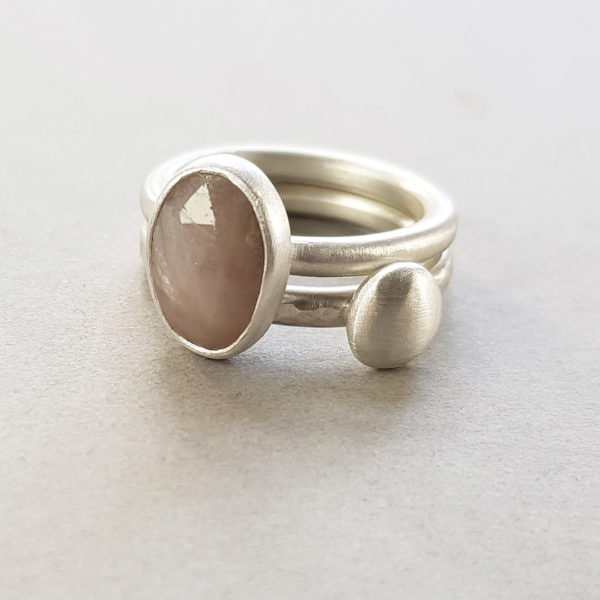 Taupe sapphire and silver pebble stacking rings