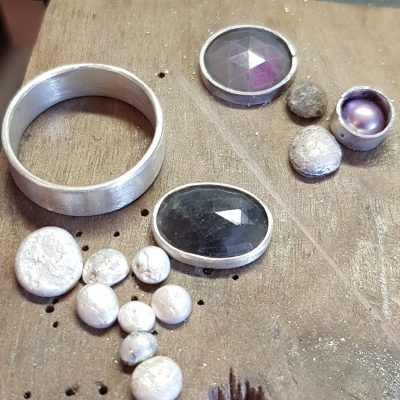 Sapphire ring and pendant in progress on the bench