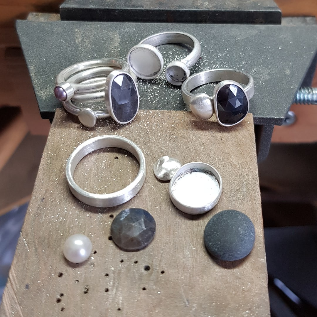 New sapphire, pebble and pearl rings in progress