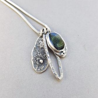 Dark green Tourmaline and textured silver pendants