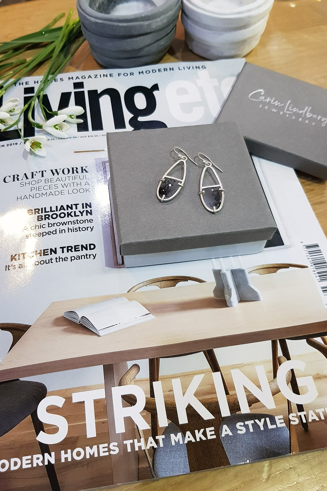 On the cover of Livingetc, my agate earrings
