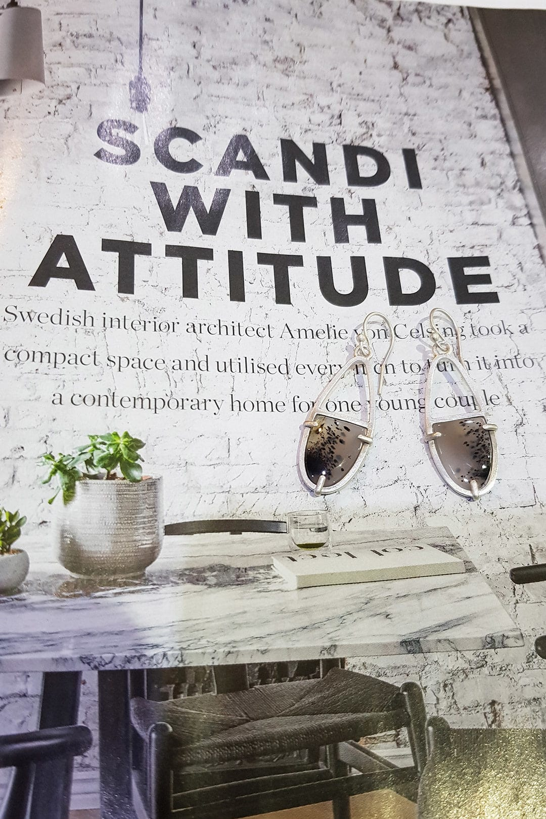 Scandi feature Living Etc and my agate earrings